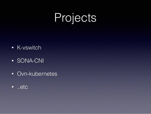 Projects • K-vswitch • SONA-CNI • Ovn-kubernetes • ..etc