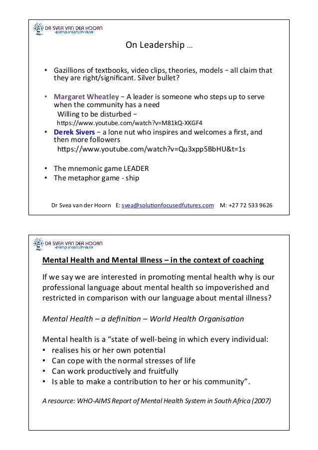 Mental Health in the Workplace – a Leadership Coaching Conundrum? Slide 3