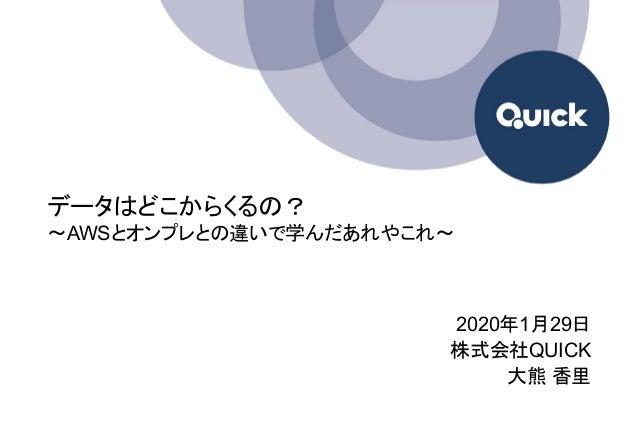 データはどこからくるの? 〜AWSとオンプレとの違いで学んだあれやこれ〜 2020年1月29日 株式会社QUICK 大熊 香里