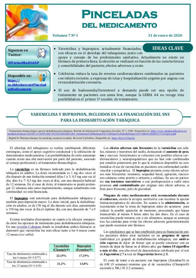 Pinceladas 31 de enero de 2020Volumen 7 Nº 1  Vareniclina y bupropion, actualmente financiados, son eficaces en el aborda...