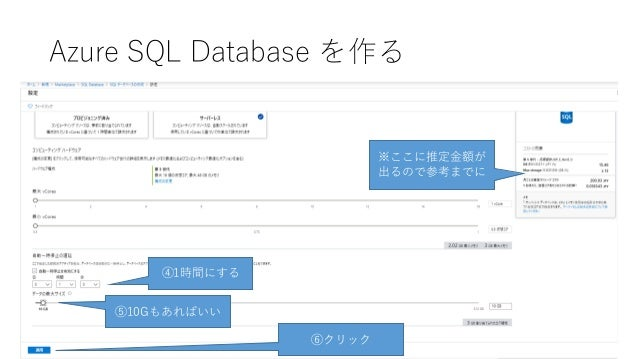 Azure SQL Database を作る ⑥クリック ⑤10Gもあればいい ④1時間にする ※ここに推定金額が 出るので参考までに