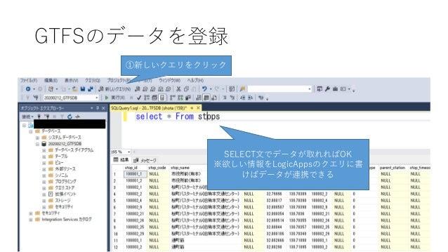 GTFSのデータを登録 ①新しいクエリをクリック SELECT文でデータが取れればOK ※欲しい情報をLogicAppsのクエリに書 けばデータが連携できる