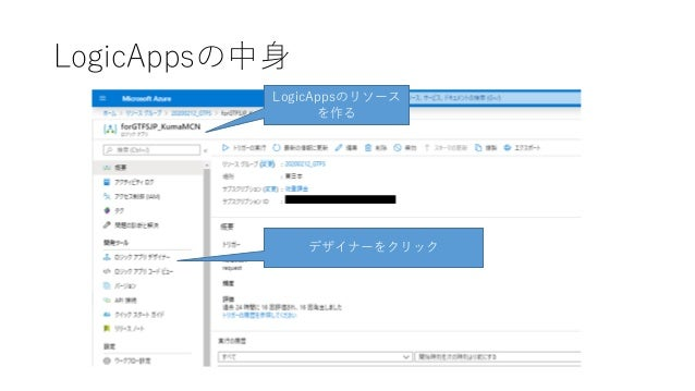 LogicAppsの中身 LogicAppsのリソース を作る デザイナーをクリック