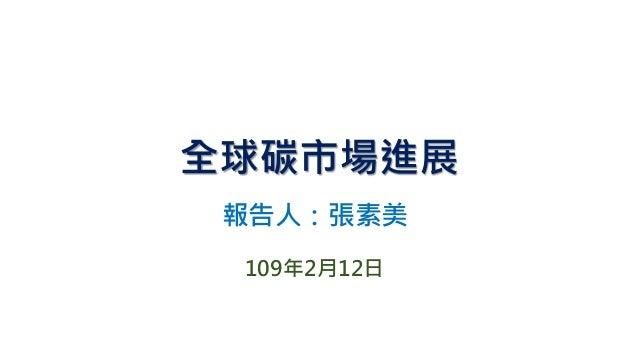 全球碳市場進展 報告人:張素美 109年2月12日
