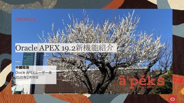 Oracle APEXユーザー会 2020年2月19日 中越祐治 Oracle APEX 19.2新機能紹介