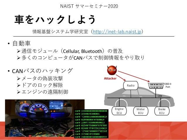 ⾞をハックしよう NAIST サマーセミナー2020 情報基盤システム学研究室(http://inet-lab.naist.jp) • ⾃動⾞ Ø通信モジュール(Cellular, Bluetooth)の普及 Ø多くのコンピュータがCANバスで...