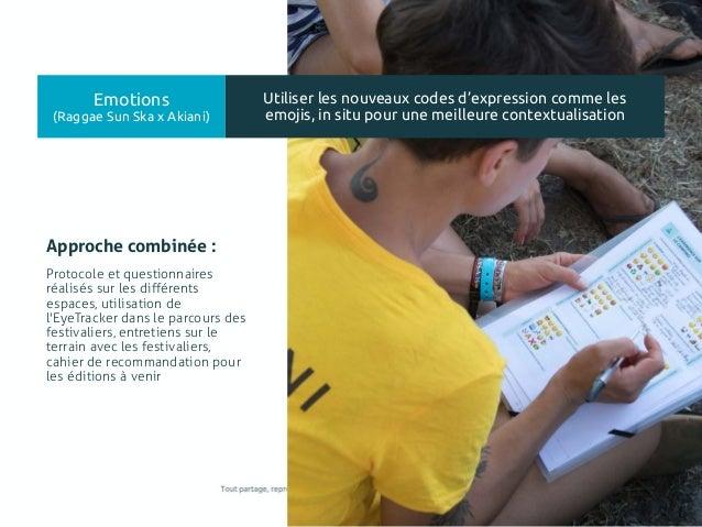 120 Protocole et questionnaires réalisés sur les différents espaces, utilisation de l'EyeTracker dans le parcours des fest...