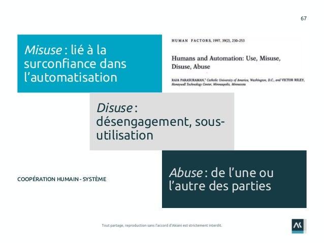 67 Misuse : lié à la surconfiance dans l'automatisation Disuse : désengagement, sous- utilisation Abuse : de l'une ou l'au...