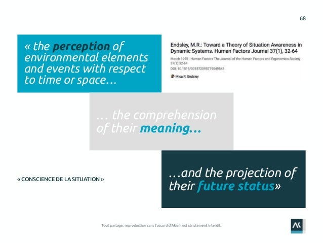 68 « the perception of environmental elements and events with respect to time or space… … the comprehension of their meani...