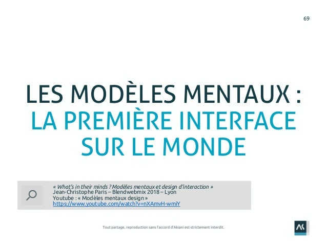69 LES MODÈLES MENTAUX : LA PREMIÈRE INTERFACE SUR LE MONDE « What's in their minds ? Modèles mentaux et design d'interact...