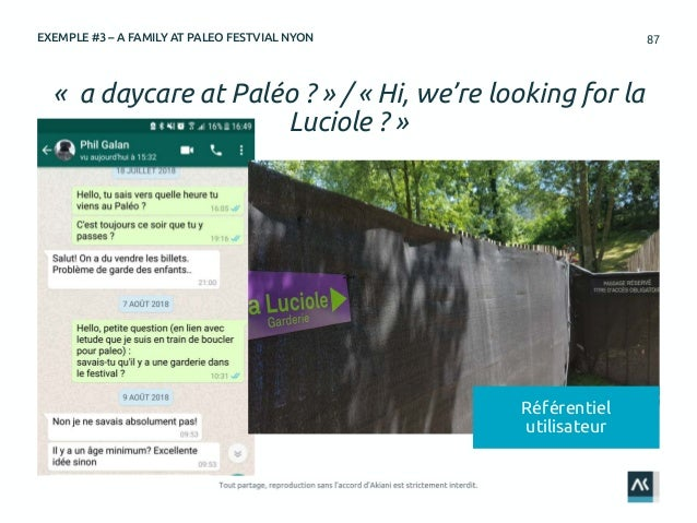 87 « a daycare at Paléo ? » / « Hi, we're looking for la Luciole ? » EXEMPLE #3 – A FAMILY AT PALEO FESTVIAL NYON Référent...