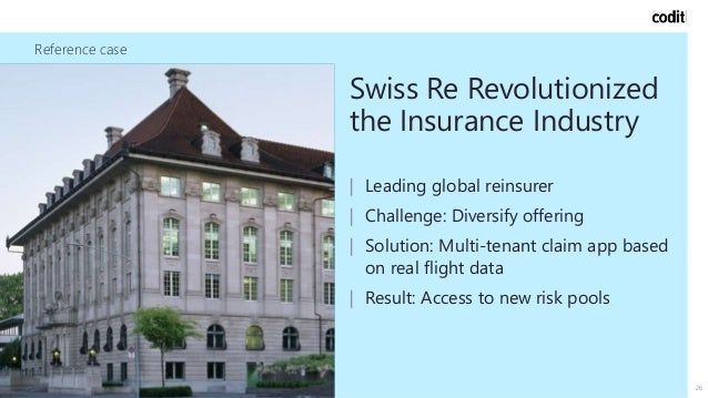 Reference case 26 Swiss Re Revolutionized the Insurance Industry   Leading global reinsurer   Challenge: Diversify offerin...