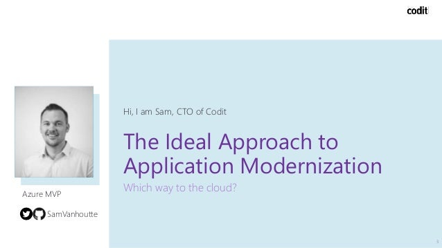The Ideal Approach to Application Modernization Which way to the cloud? Hi, I am Sam, CTO of Codit 3 Azure MVP SamVanhoutte