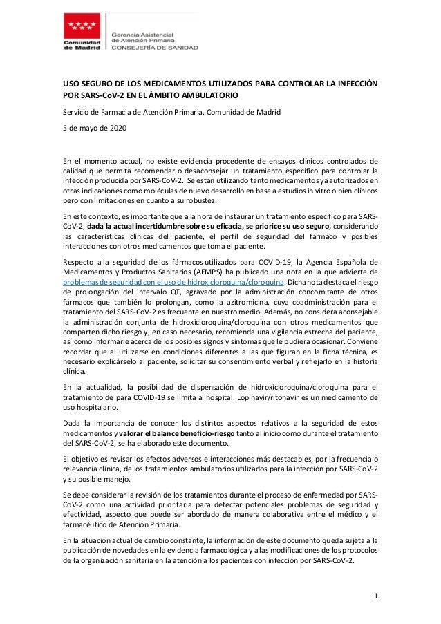 1 USO SEGURO DE LOS MEDICAMENTOS UTILIZADOS PARA CONTROLAR LA INFECCIÓN POR SARS-CoV-2 EN EL ÁMBITO AMBULATORIO Servicio d...