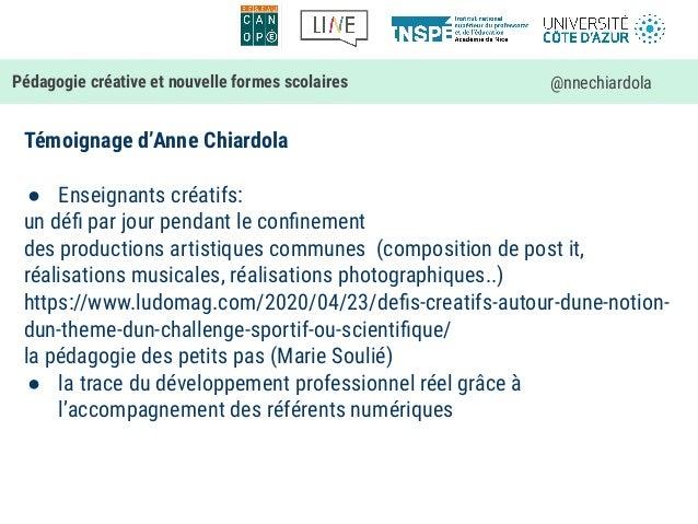 Témoignage d'Anne Chiardola ● Enseignants créatifs: un défi par jour pendant le confinement des productions artistiques comm...