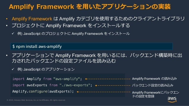 © 2020, Amazon Web Services, Inc. or its Affiliates. All rights reserved. Amplify Framework の読み込み バックエンド設定の読み込み Amplify Fr...