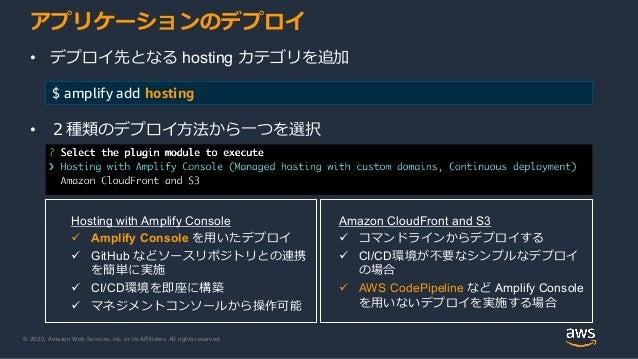 © 2020, Amazon Web Services, Inc. or its Affiliates. All rights reserved. アプリケーションのデプロイ • デプロイ先となる hosting カテゴリを追加 $ ampli...