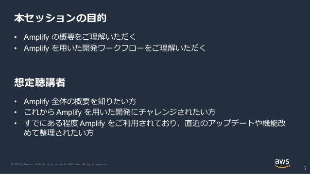 © 2020, Amazon Web Services, Inc. or its Affiliates. All rights reserved. 本セッションの目的 5 • Amplify の概要をご理解いただく • Amplify を用いた...