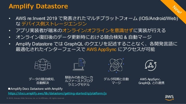 © 2020, Amazon Web Services, Inc. or its Affiliates. All rights reserved. Amplify Datastore • AWS re:Invent 2019 で発表されたマルチ...