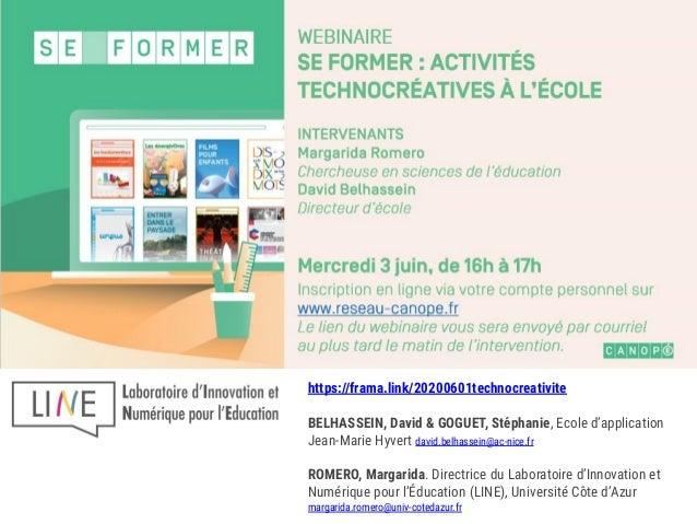 https://frama.link/20200601technocreativite BELHASSEIN, David & GOGUET, Stéphanie, Ecole d'application Jean-Marie Hyvert d...