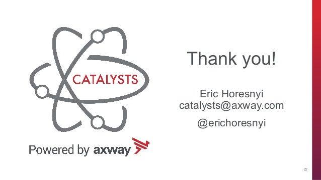 axway.com Thank you! Eric Horesnyi catalysts@axway.com @erichoresnyi 22