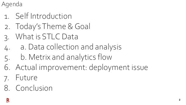 2 1. Self Introduction 2. Today'sTheme & Goal 3. What is STLC Data 4. a. Data collection and analysis 5. b. Metrix and ana...