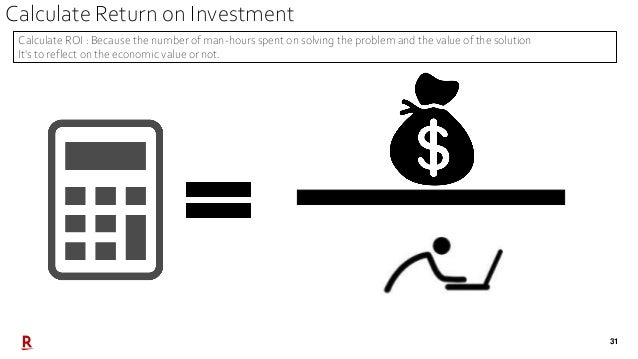 31 Calculate ROI : Because the number of man-hours spent on solving the problem and the value of the solution It's to refl...