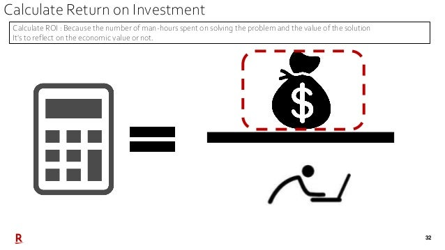 32 Calculate ROI : Because the number of man-hours spent on solving the problem and the value of the solution It's to refl...