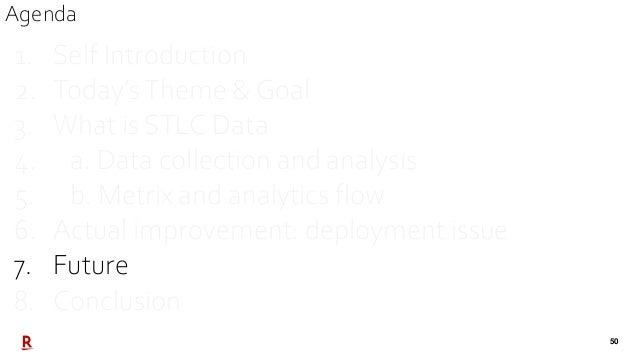 50 1. Self Introduction 2. Today'sTheme & Goal 3. What is STLC Data 4. a. Data collection and analysis 5. b. Metrix and an...