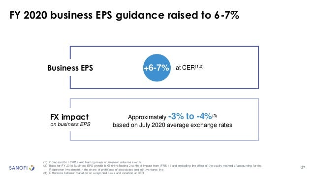 27 FY 2020 business EPS guidance raised to 6-7% (1) Compared to FY2019 and barring major unforeseen adverse events (2) Bas...