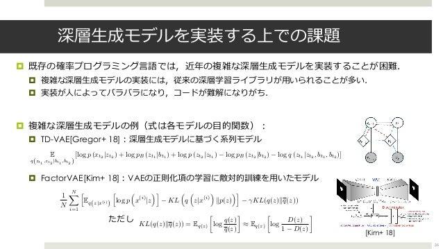 深層⽣成モデルを実装する上での課題 ¤ 既存の確率プログラミング⾔語では,近年の複雑な深層⽣成モデルを実装することが困難. ¤ 複雑な深層⽣成モデルの実装には,従来の深層学習ライブラリが⽤いられることが多い. ¤ 実装が⼈によってバラバラになり...