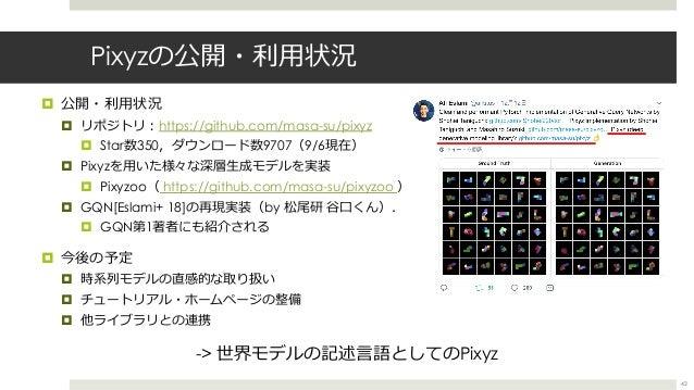 Pixyzの公開・利⽤状況 ¤ 公開・利⽤状況 ¤ リポジトリ︓https://github.com/masa-su/pixyz ¤ Star数350,ダウンロード数9707(9/6現在) ¤ Pixyzを⽤いた様々な深層⽣成モデルを実装 ¤ ...