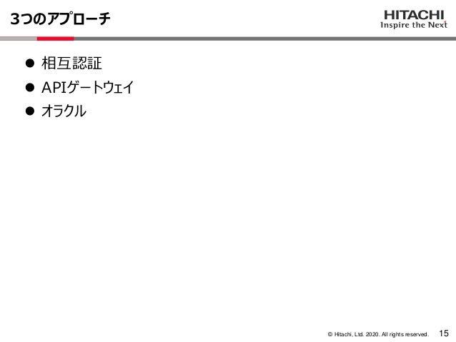 © Hitachi, Ltd. 2020. All rights reserved. 3つのアプローチ 15 ⚫ 相互認証 ⚫ APIゲートウェイ ⚫ オラクル
