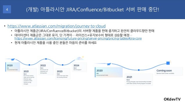 OKdevTV (개발) 아틀라시안 JIRA/Confluence/Bitbucket 서버 판매 중단!4 • https://www.atlassian.com/migration/journey-to-cloud • 아틀라시안 제품군...