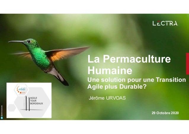 29 Octobre 2020 @jeromeurvoas Jérôme URVOAS La Permaculture Humaine Une solution pour une Transition Agile plus Durable?