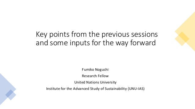 Key points from the previous sessions and some inputs for the way forward Fumiko Noguchi Research Fellow United Nations Un...