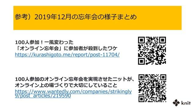 100人参加!一風変わった 「オンライン忘年会」に参加者が殺到したワケ https://kurashigoto.me/report/post-11704/ 100人参加のオンライン忘年会を実現させたニットが、 オンライン上の場づくりで大切にして...