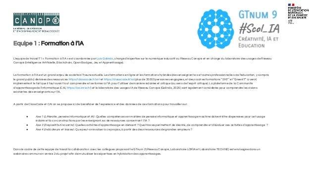 Equipe 2 : De l'acculturation au numérique vers l'IA L'équipe 2 (T2) « De l'acculturation au numérique vers l'IA » est coo...