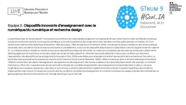 Equipe 4 : Traces d'apprentissages d'activités médiatisées par le numérique et activités tangibles On sait l'importance de...
