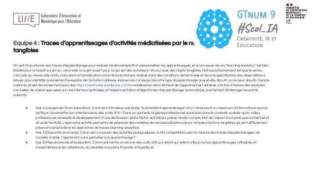 Equipe 5 : Modélisation de la personne apprenante et évaluation Le lancement d'une action exploratoire https://team.inria....