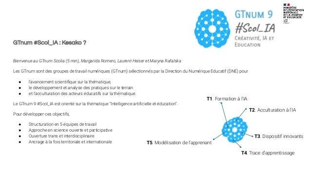 GTnum #Scol_IA : Kesako ? Bienvenue au GTnum Scolia (5 min), Margarida Romero, Laurent Heiser et Maryna Rafalska Les GTnum...