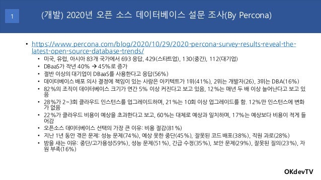 • https://www.percona.com/blog/2020/10/29/2020-percona-survey-results-reveal-the- latest-open-source-database-trends/ • 미국...