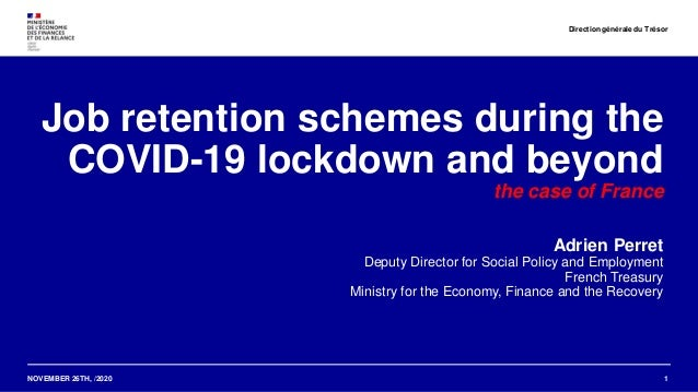 NOVEMBER 26TH, /2020 Job retention schemes during the COVID-19 lockdown and beyond the case of France Adrien Perret Deputy...