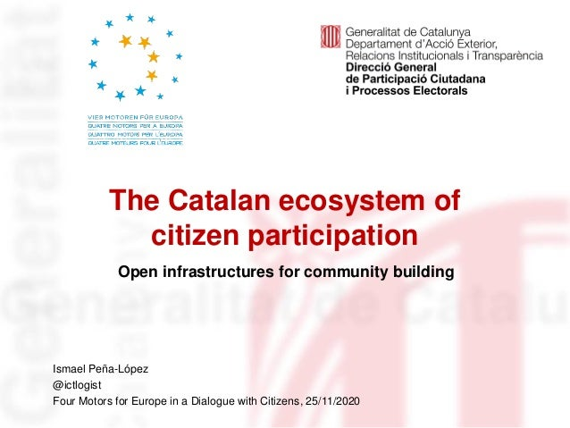 The Catalan ecosystem of citizen participation Ismael Peña-López @ictlogist Four Motors for Europe in a Dialogue with Citi...