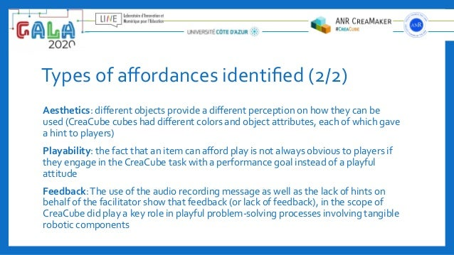 Types of affordances identified (2/2) Aesthetics: different objects provide a different perception on how they can be used (Cr...