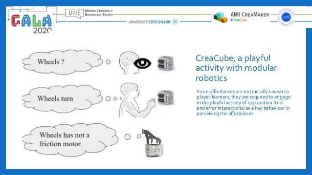 CreaCube, a playful activity with modular robotics Since affordances are not initially known to player-learners, they are r...