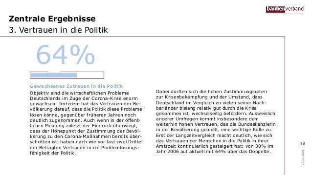 Zentrale Ergebnisse 3. Vertrauen in die Politik 09.12.2020 16 Gewachsenes Zutrauen in die Politik Objektiv sind die wirtsc...