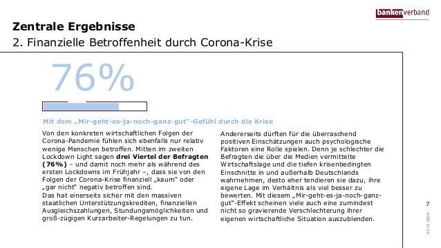 Zentrale Ergebnisse 2. Finanzielle Betroffenheit durch Corona-Krise 09.12.2020 7 Von den konkreten wirtschaftlichen Folgen...