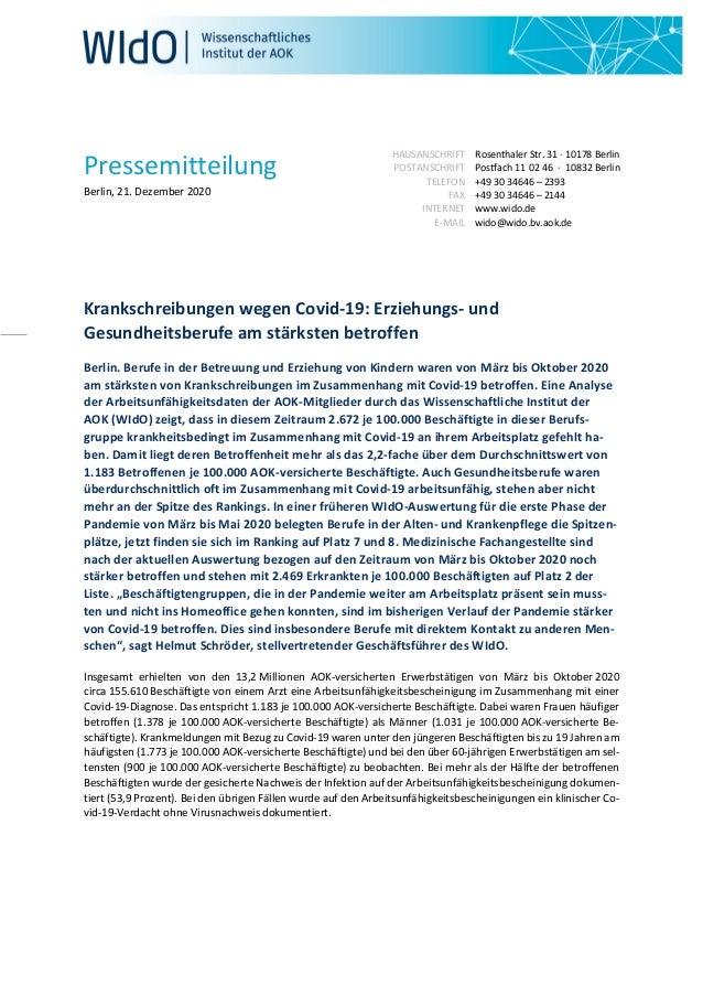 Pressemitteilung Berlin, 21. Dezember 2020 HAUSANSCHRIFT POSTANSCHRIFT TELEFON FAX INTERNET E-MAIL Rosenthaler Str. 31 · 1...