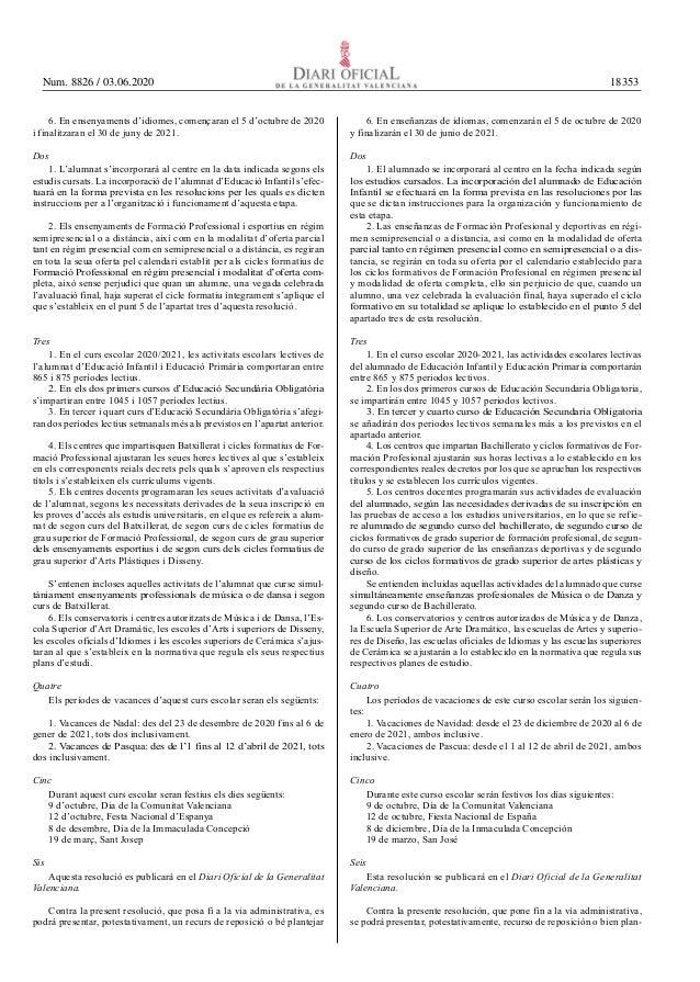 Resolución para el calendario escolar de la Comunidad Valenciana.